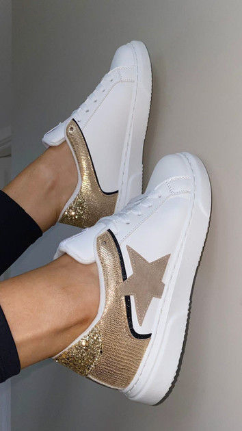 White Lace Up Gold Star Detail Trainers