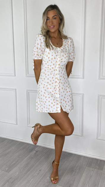 Get That Trend Glamorous White and Pink Ditsy Mini Dress