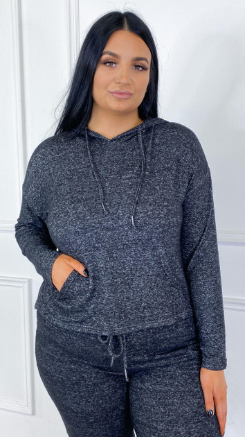 Get That Trend Brave Soul Curve Charcoal Drawstring Hoodie