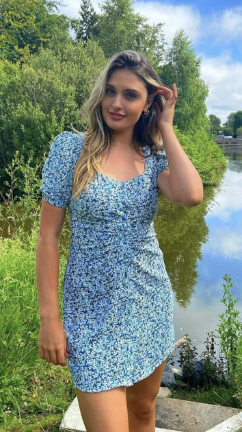 Get That Trend Brave Soul Blue Floral Ditsy Print Puff Sleeve Mini Dress