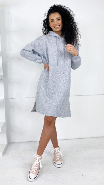 Get That Trend Sisters Point Grey Hooded Dress