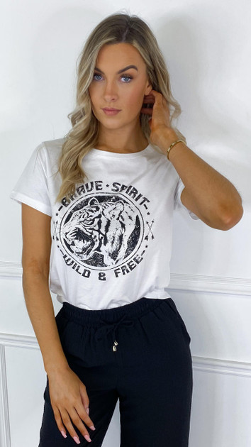 Get That Trend Sisters Point White Printed T-Shirt
