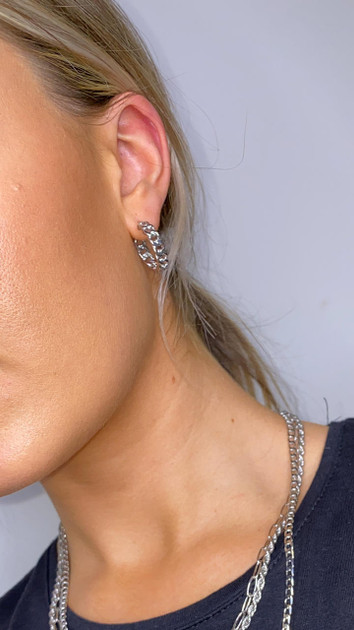 Get That Trend Pieces Silver Chained Hoop Earrings