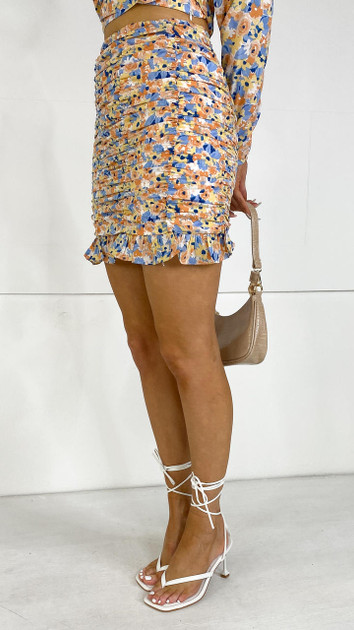 Get That Trend Only Floral Print Ruched Mini Skirt