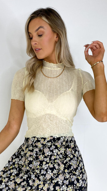 Get That Trend Pieces Pale Yellow High Neck T-Shirt