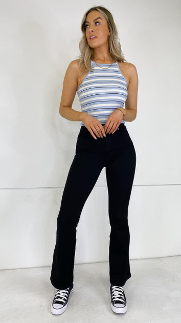 Get That Trend Pieces Light Blue and White Stripe Crop Top