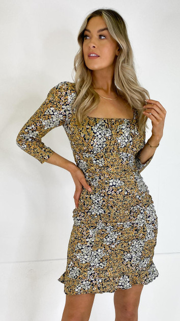 Get That Trend Only Black Ditsy Floral Print Ruched Dress