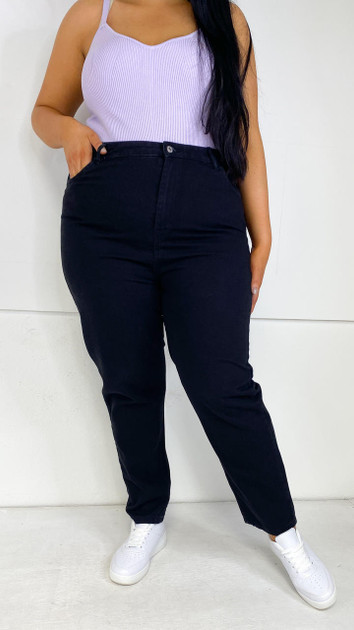 Get That Trend Wednesdays Girl Curve Mom Jeans in Black Wash