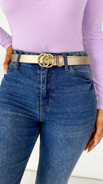 Get That Trend Only Gold Faux Leather Belt - Gold Buckle