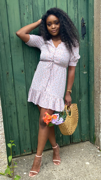 Get That Trend Ivy Lane Lilac Frill Hem Floral Button Down Mini Dress