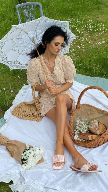 Get That Trend Ivy Lane Orange Frill Hem Floral Button Down Mini Dress