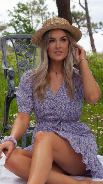 Get That Trend Ivy Lane Purple Frill Hem Ditsy Floral Button Down Mini Dress