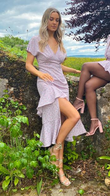 Get That Trend Ivy Lane Lilac Ruffle Detail Floral Print Midi Dress