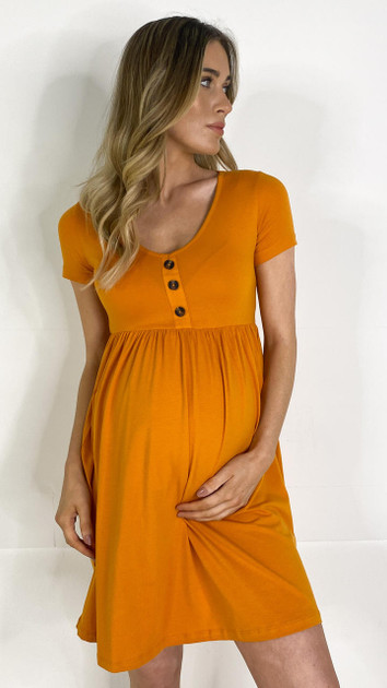 Get That Trend Mamalicious Orange Button Front Jersey Dress
