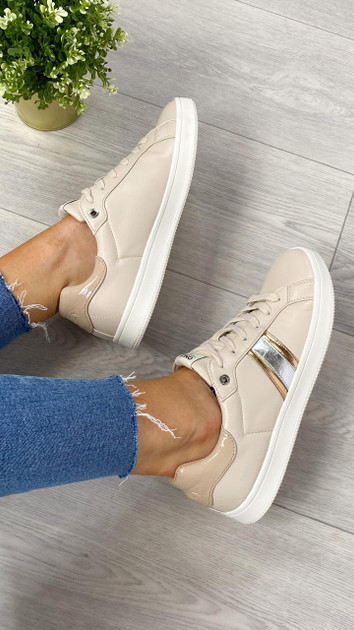 Get That Trend Only Nude Striped Trainers