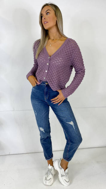 Get That Trend JDY Textured Grape Knitted Cardigan
