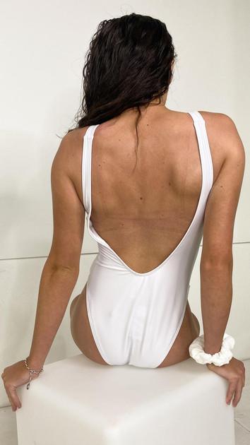 Get That Trend Hustler Logo Swimsuit in White