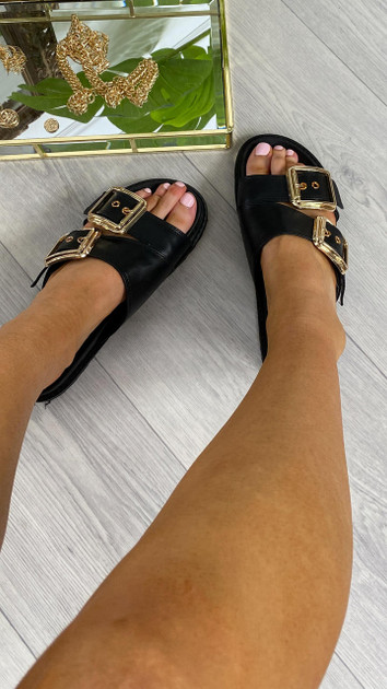 Get That Trend Glamorous Black Double Strap Buckle Sandals