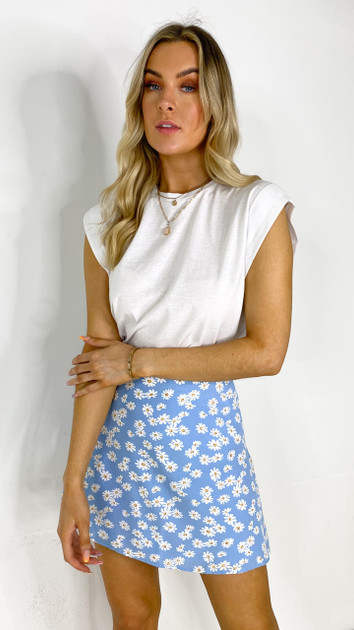 Get That Trend Ivy Lane Blue Floral A-Line Skirt