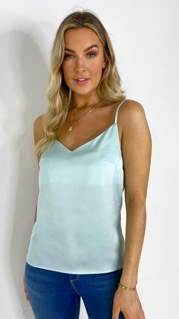 Ivy Lane Blue Satin Camisole