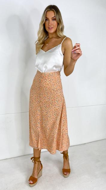 Get That Trend Ivy Lane Orange Floral Slip Skirt