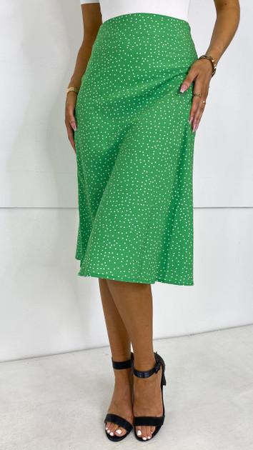 Get That Trend Ivy Lane Green Polka Dot Slip Skirt