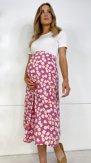 Get That Trend Pieces Maternity Rose Midi Skirt