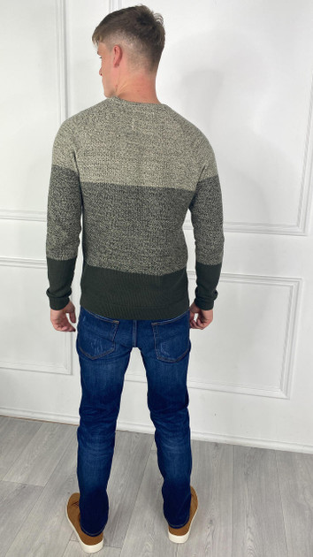 Get That Trend Only and Sons Khaki Green Crewneck Knit Jumper