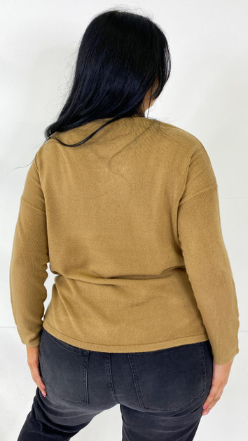 Get That Trend Only Carmakoma Toasted Coconut V-Neck Knitted Pullover
