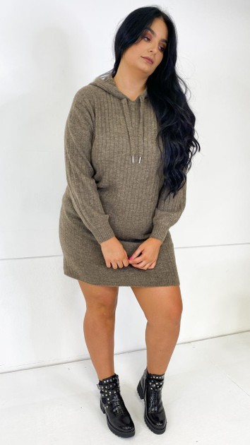 Get That Trend Only Carmakoma Long Sleeve Hooded Knit Dress