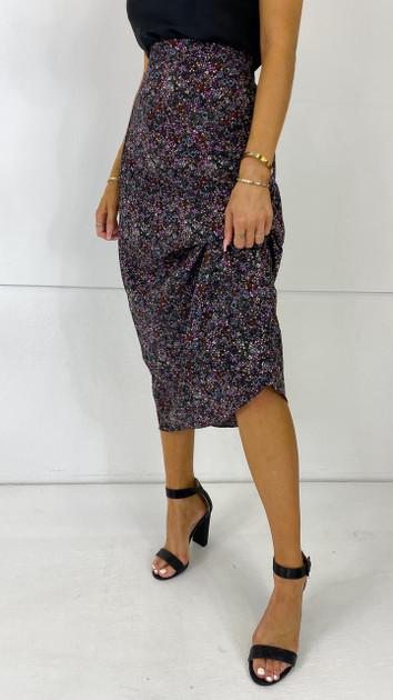 Get That Trend Ivy Lane Black Multi Print Midi Skirt