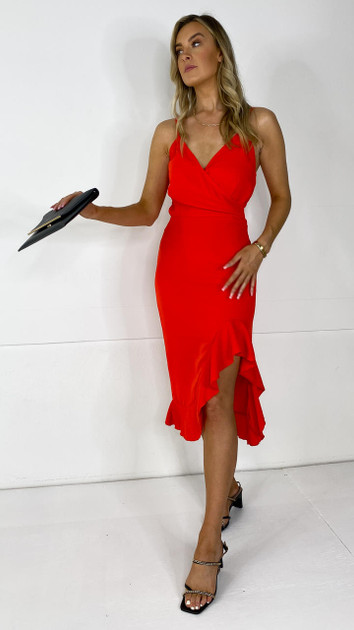 Get That Trend Girl In Mind Red Wrap Neck Frill Detail Dress