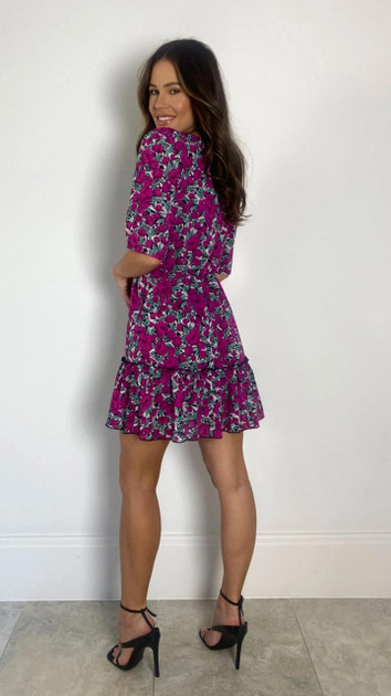 Get That Trend Girl In Mind Purple Floral Smock Mini Dress
