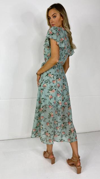 Get That Trend Ivy Lane Green Button Down Floral Print Midi Dress