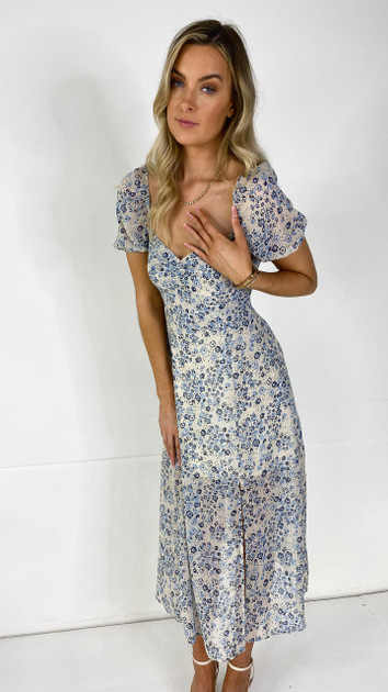 Get That Trend Ivy Lane Nude Floral Print Milkmaid Midi Dress