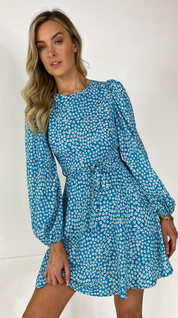 Get That Trend Ivy Lane Blue Floral Print Fit and Flare Mini Dress