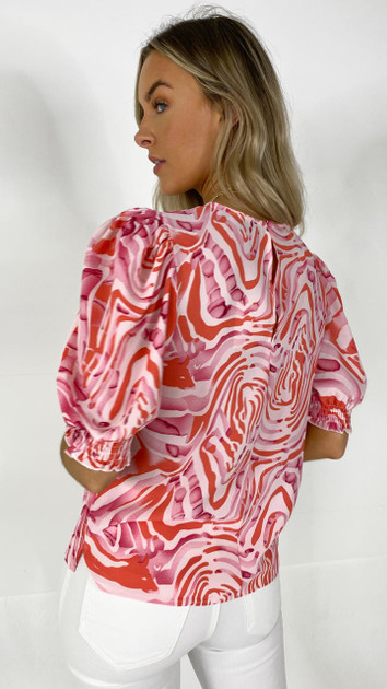 Get That Trend Girl In Mind Red Zebra Puff Sleeve Top