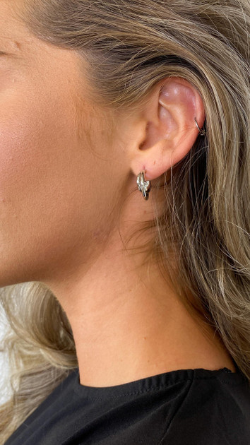 Get That Trend Pieces Crossover Silver Hoop Earrings