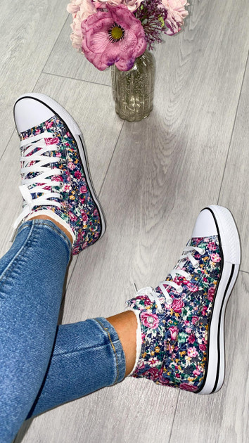 Get That Trend Floral Print Canvas Trainers