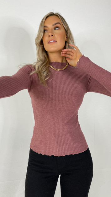 Only Rose Brown High Neck Top
