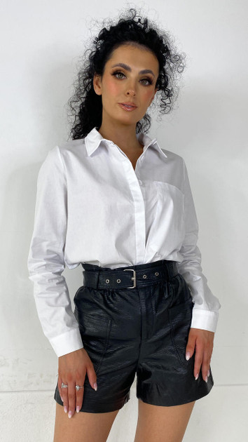Noisy May Black Faux Leather High Waisted Shorts