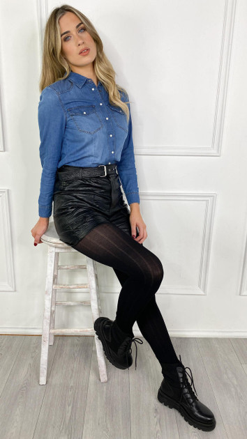 Get That Trend Noisy May Black Faux Leather High Waisted Shorts