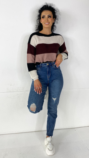 JDY Burgundy Striped Knitted Pullover
