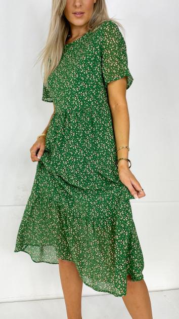 Get That Trend Ivy Lane Green Tiered Midi Dress