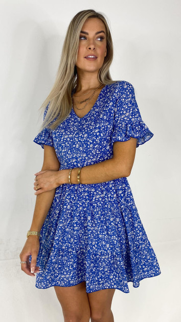 Get That Trend Ivy Lane Blue Floral Tiered Mini Dress