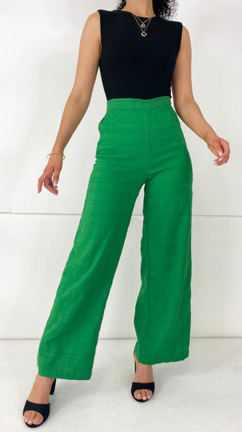 Pieces Classic Green High Waisted Wide Trousers