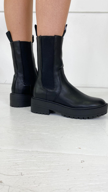 Only Black Faux Leather Boots