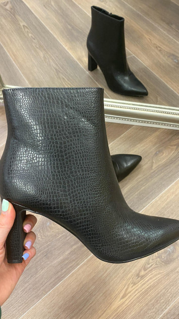 Only Black Faux Leather Heeled Boots