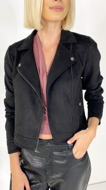 Get That Trend Noisy May Black Faux Suede Jacket