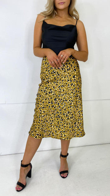 Get That Trend Pieces Mustard Printed Midi Skirt